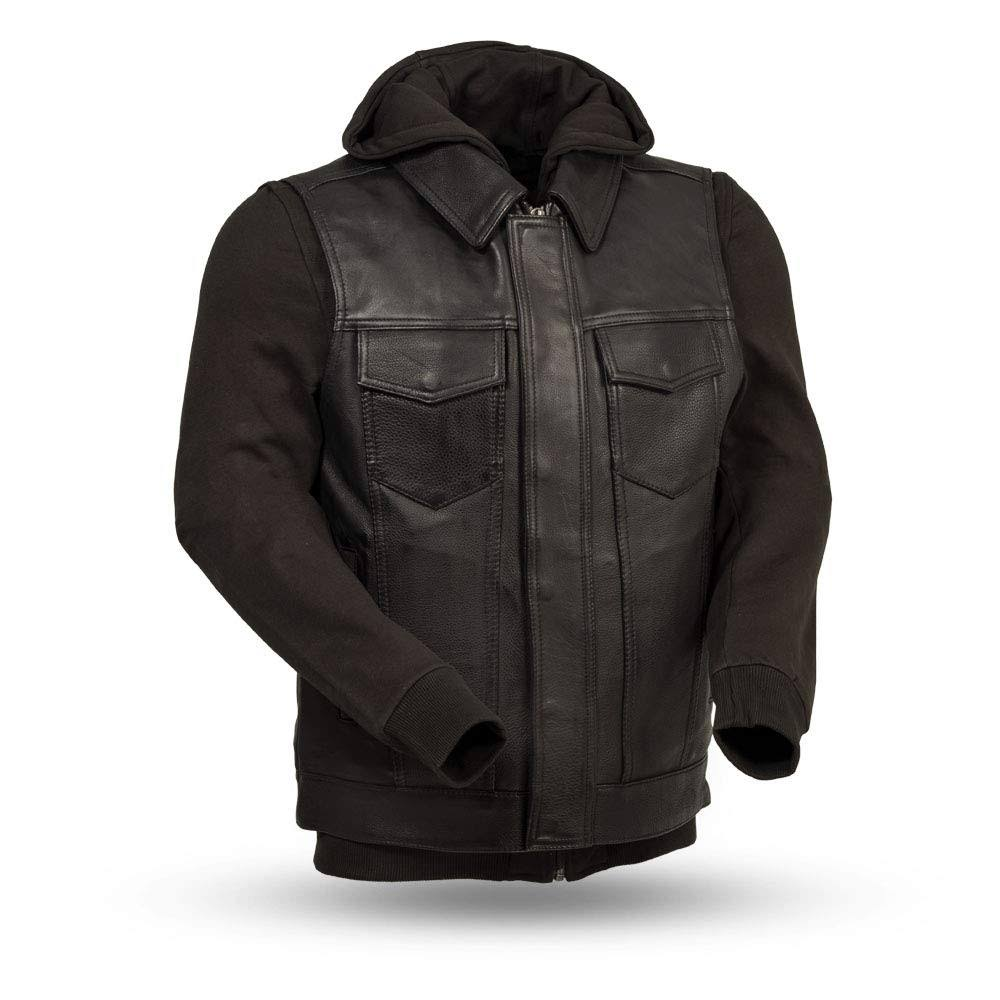 First Manufacturing FIM697CDDH-S-BLK Kent Men's Leather Jacket (Small, Black)