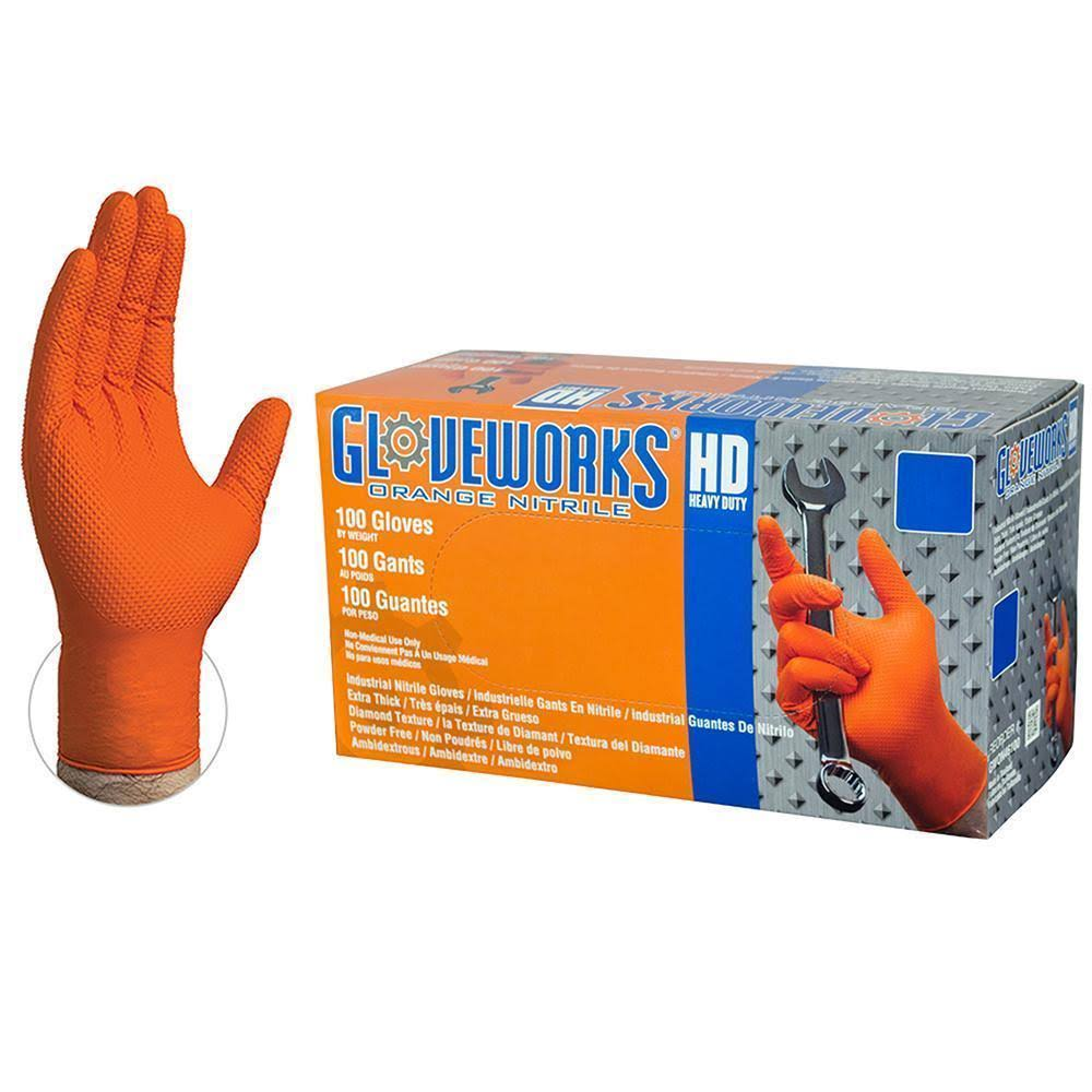 Gloveworks Orange Diamond Textured Nitrile Industrial Disposable Gloves - 100pk