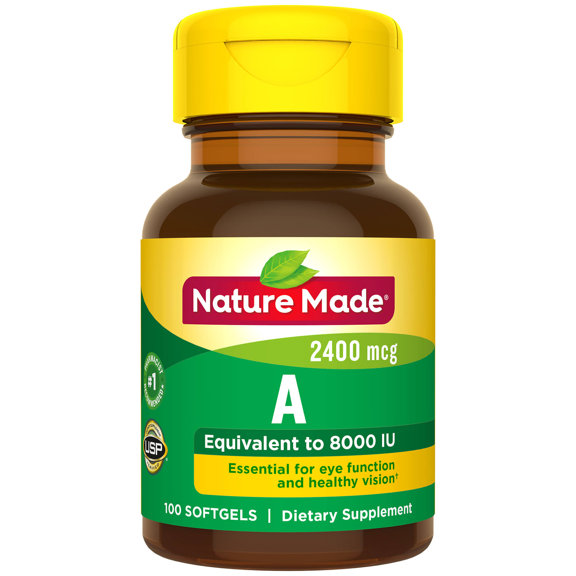 Nature Made Vitamin A - 8000 IU, 100 Liquid Softgels