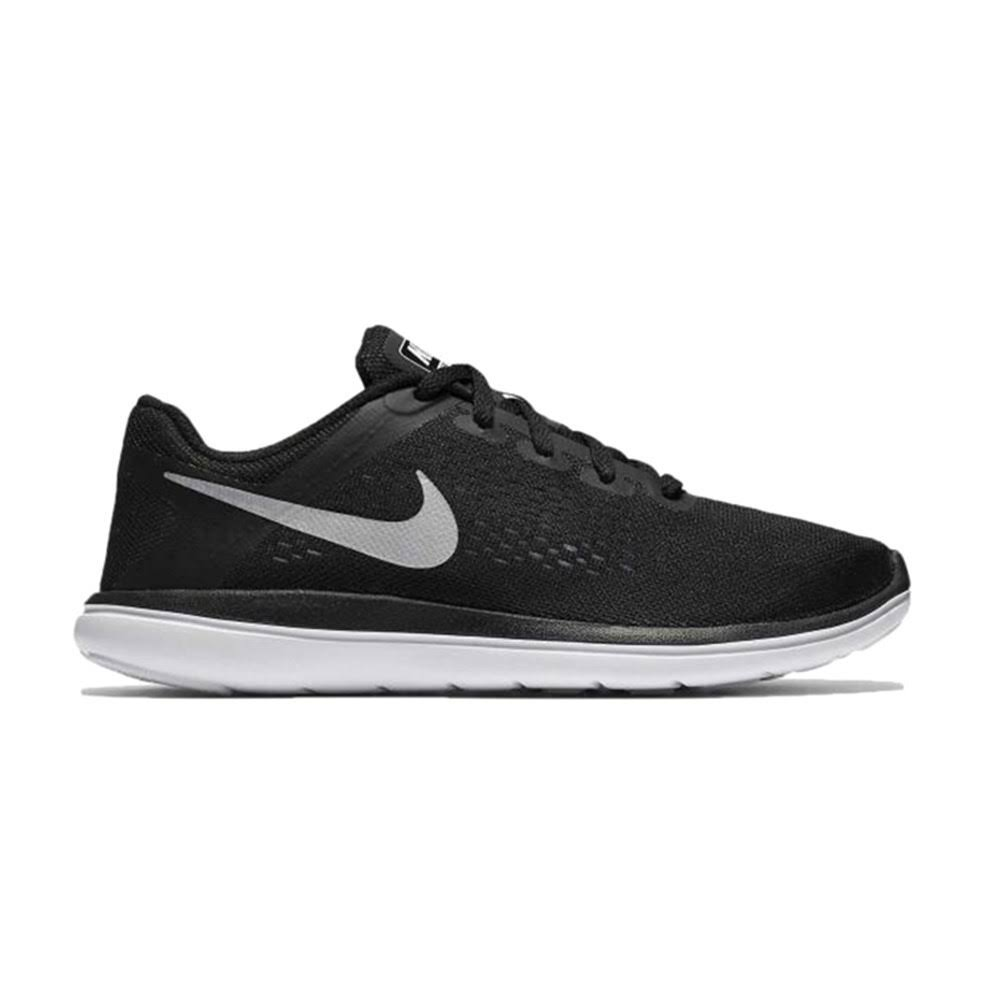 Nike Kids Flex 2016 RN (GS) Running Shoe Black/Metallic Silver/White 5