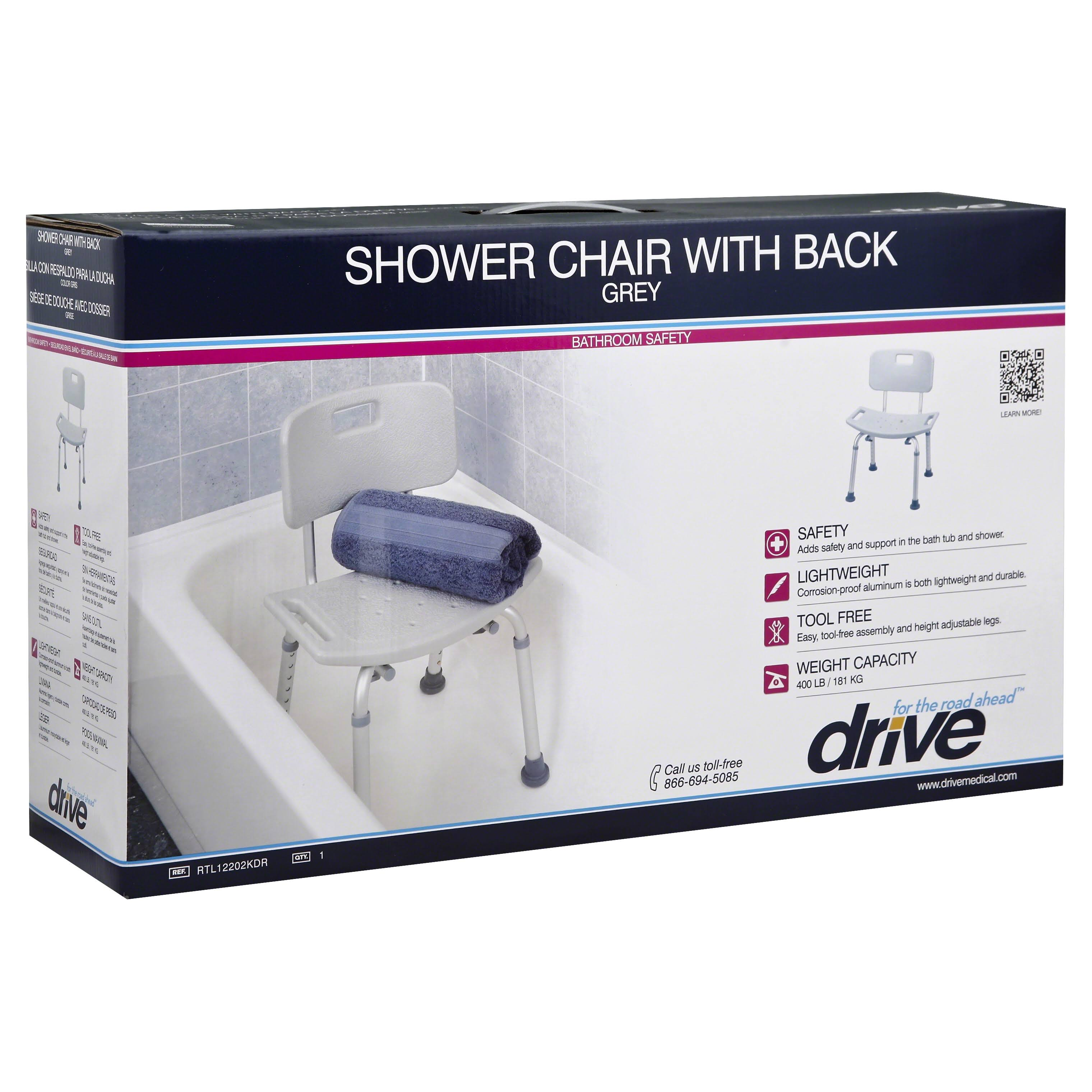 Drive Medical Plastic Freestanding Shower Seat - Gray, with Back Rest