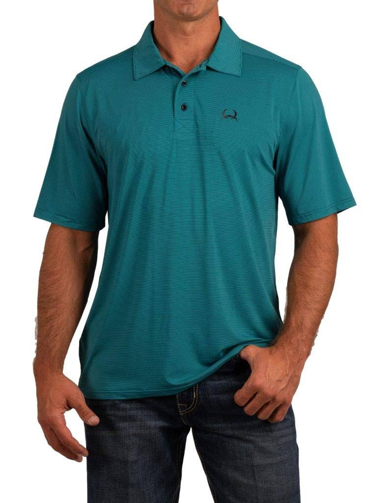 Cinch Western Shirt Men Polo S/S ArenaFlex Stripe Turquoise MTK1829006