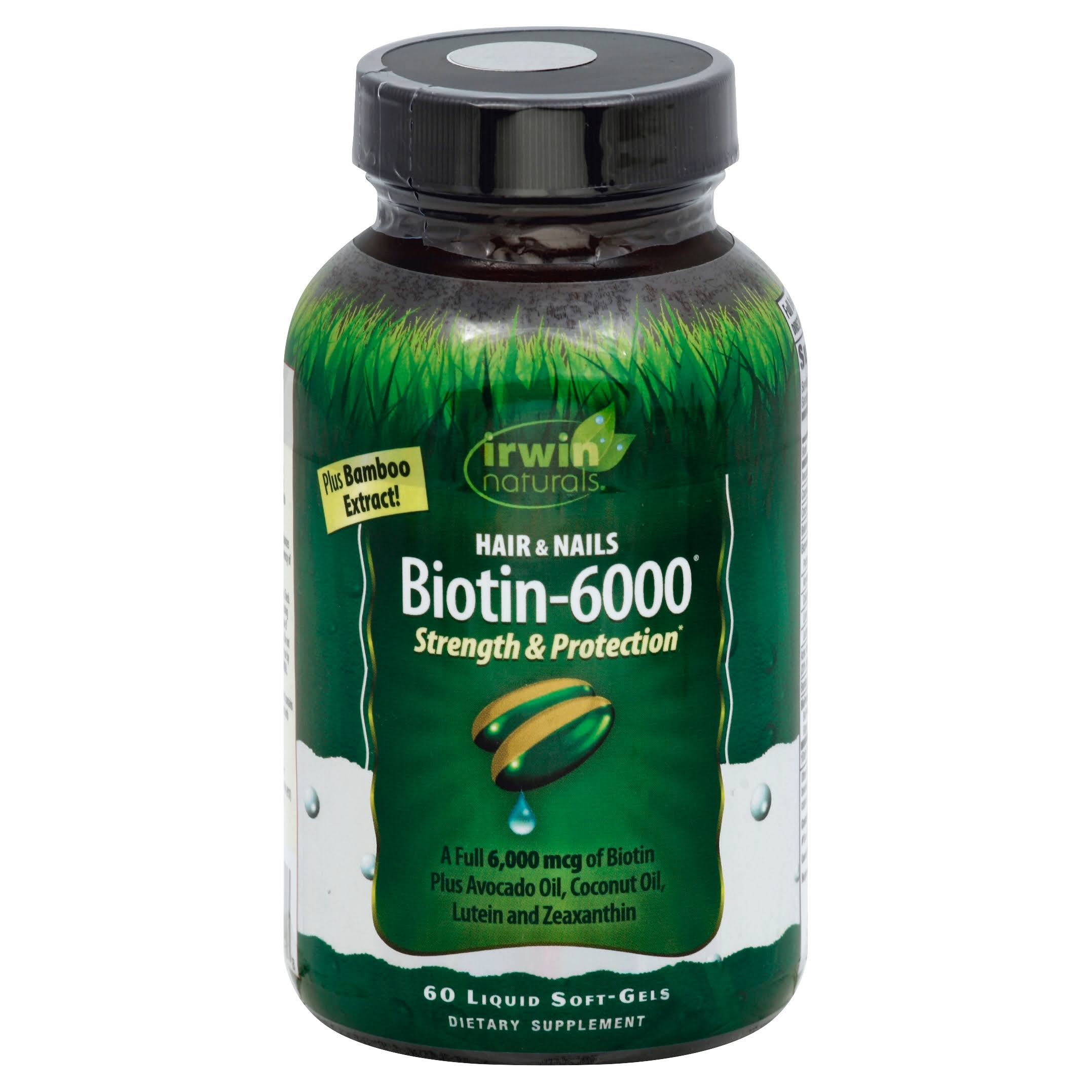 Irwin Naturals Biotin-6000 with Bamboo Extract Vitamins - 60 Softgels