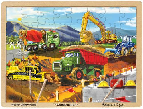 Melissa & Doug Construction Trucks Wooden Jigsaw Puzzle - 48pcs, 3 to 4 Years