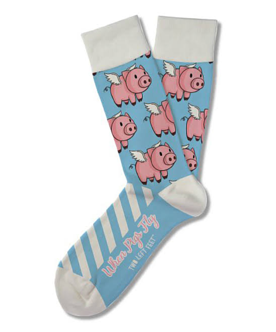 Two Left Feet Sock Co. When Pigs Fly Sck 4pc Sml(s/m)