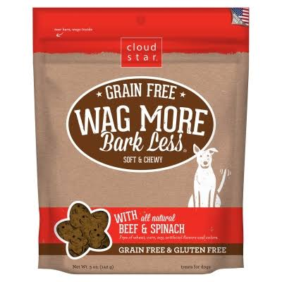 Cloud Star Wag More Bark Less Dog Treats - Grain Free, Soft and Chewy, Beef and Spinach