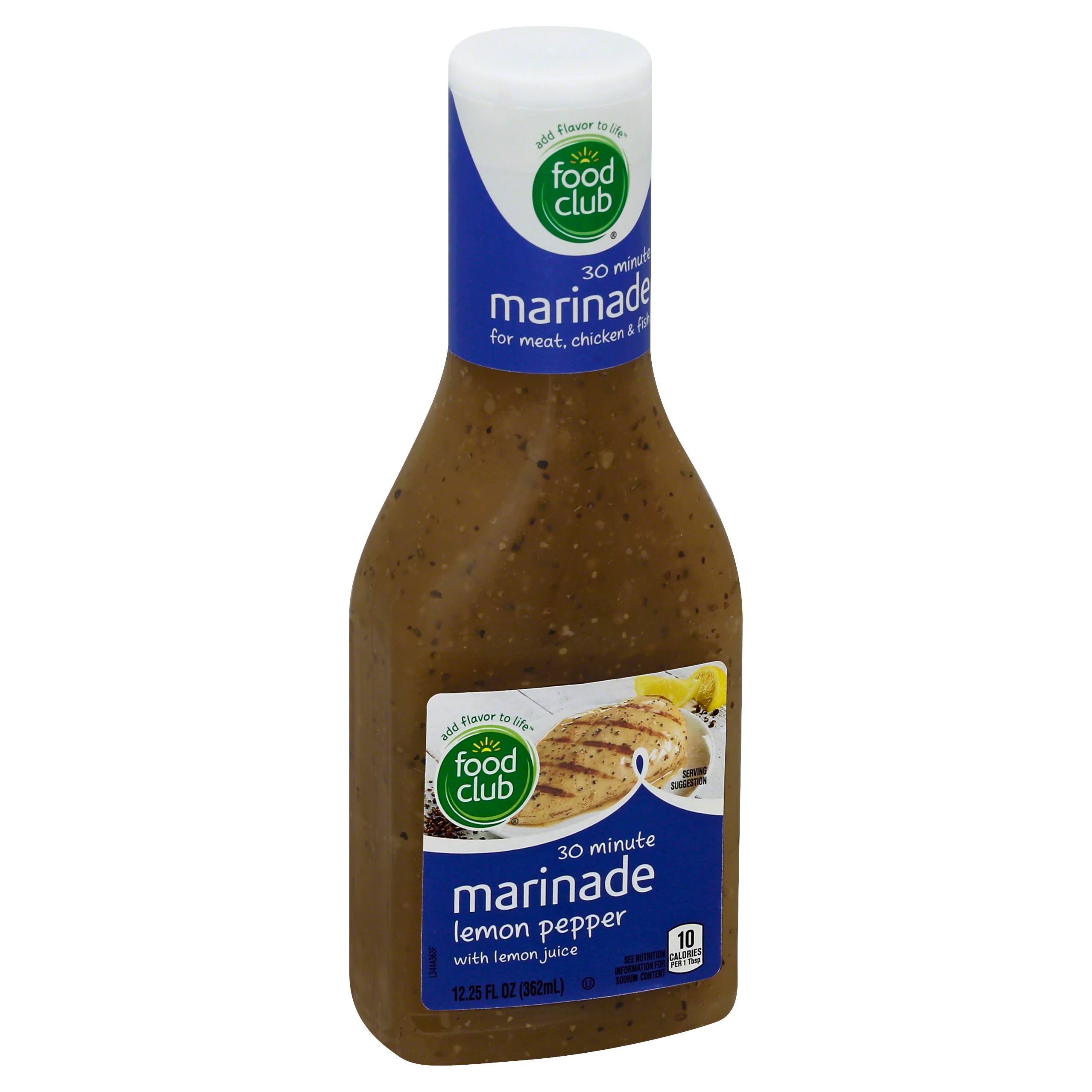 Food Club Marinade, 30 Minute, Lemon Pepper - 12.25 fl oz