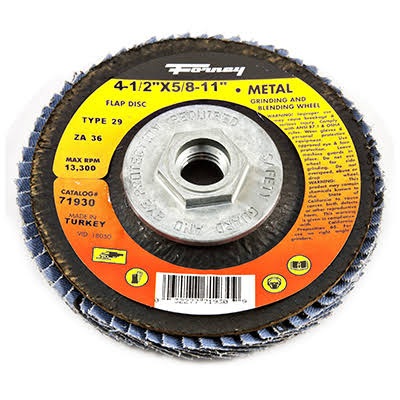 "Forney Flap Disc - Type 29 Blue Zirconia, with 5/8""-11 Threaded Arbor, 36 Grit"