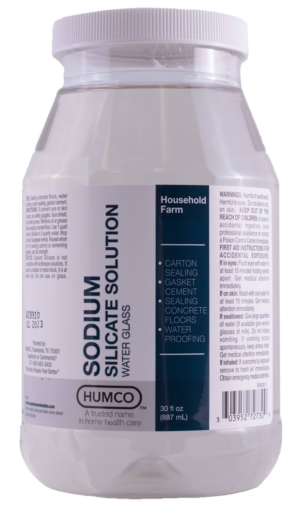 Humco Sodium Silicate Solution 30 oz Water Glass