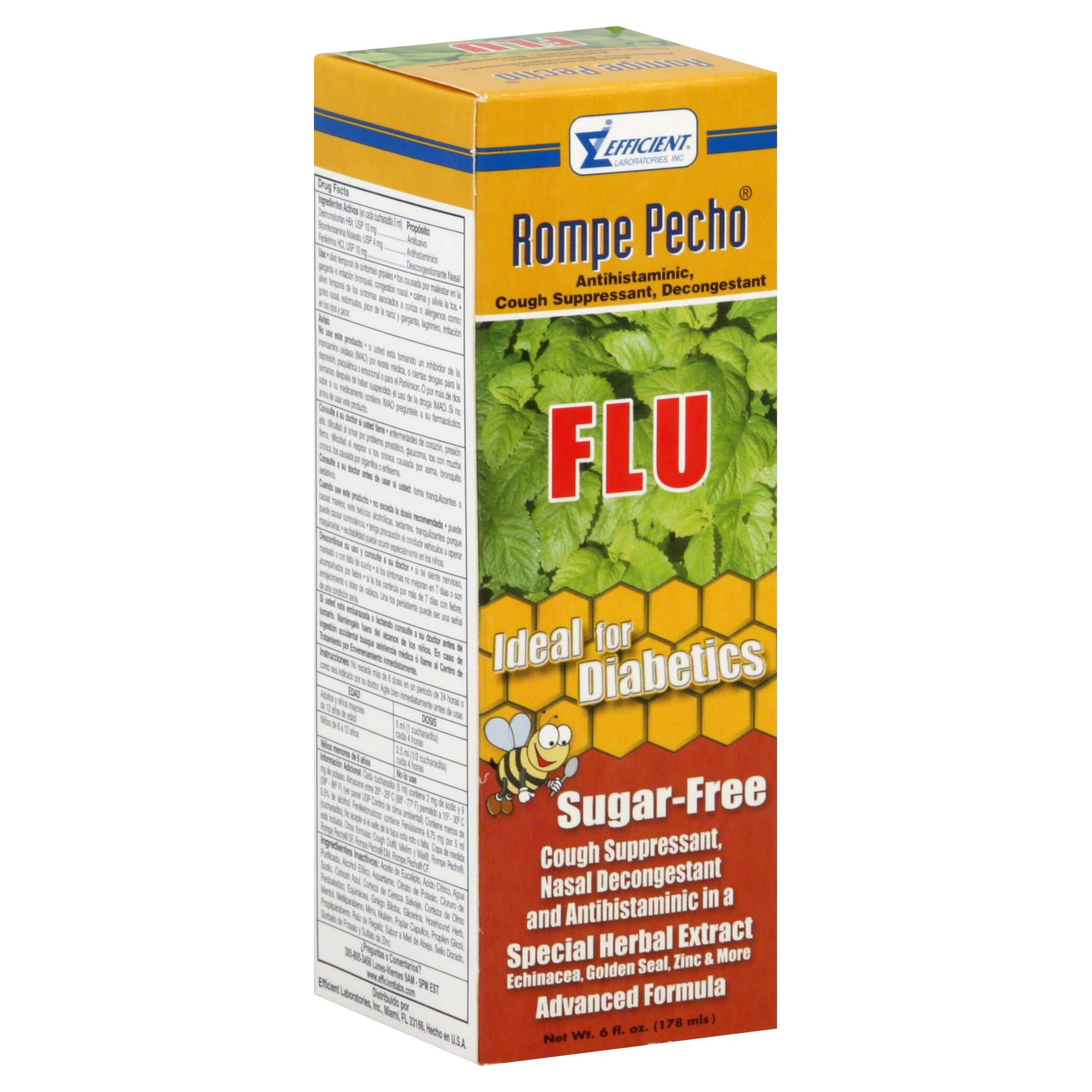 Rompe Pecho Sugar Free Cough and Flu Syrup - 6oz