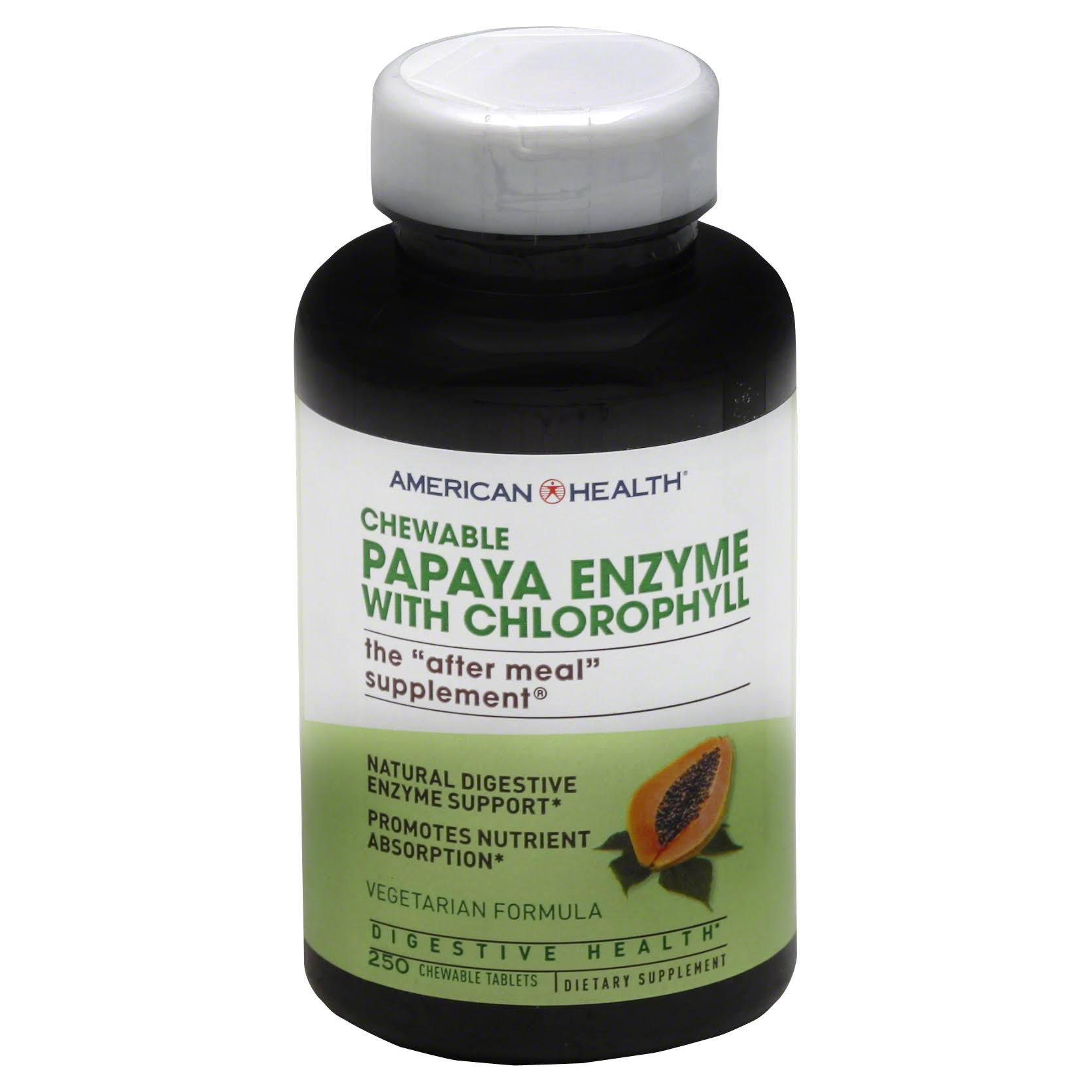 American Health Chewable Papaya Enzyme with Chlorophyll The After Meal Supplement - 250 Tablets