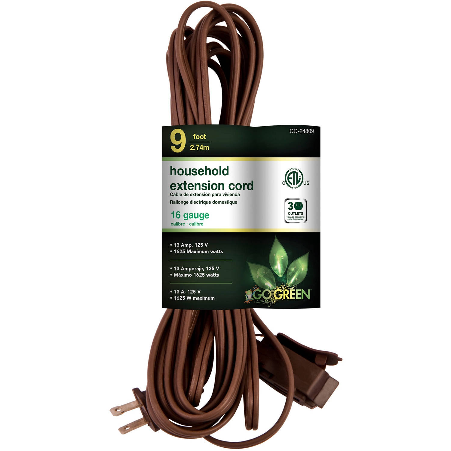 'GoGreen Power Household Extension Cord - Brown, 9'