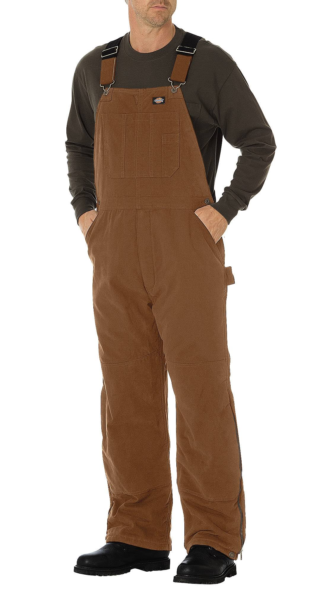 Dickies Sanded Duck Insulated Bib Overall - Brown Duck
