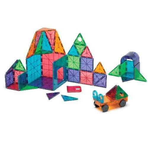 Magna-Tiles Magnetic Geometric Shapes Building Tile 48-Piece Deluxe Set, Clear, Multicolors