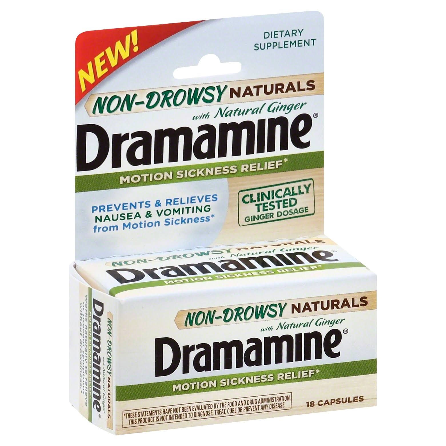 Dramamine Non-drowsy Naturals Motion Sickness Relief - 18 Capsules