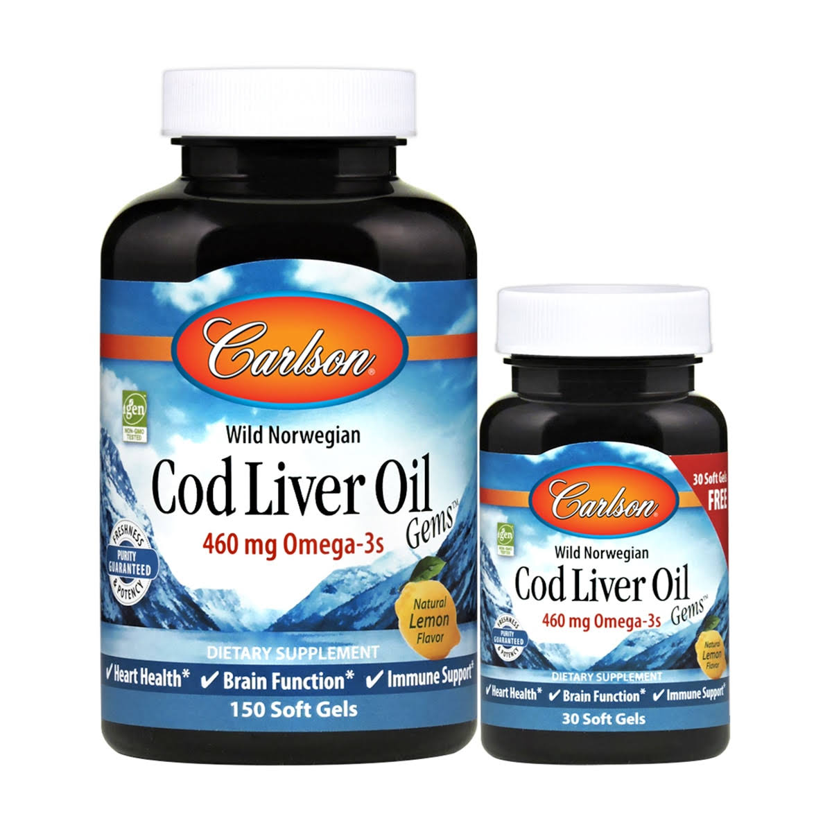Carlson Cod Liver Oil Gems - Lightly Lemon, 180 Softgels