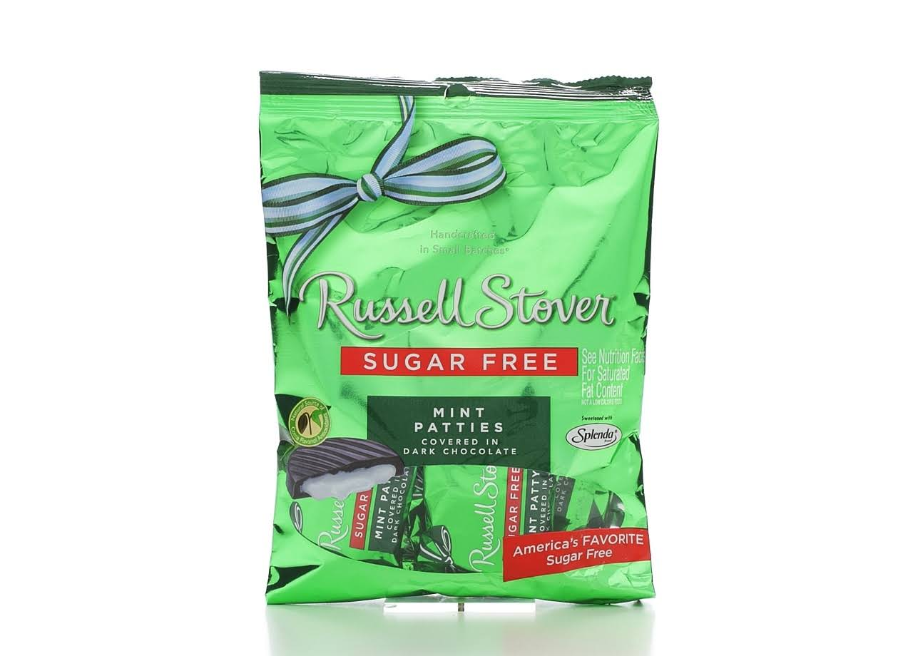 Russell Stover Sugar Free Mint Patties Candy - Covered in Dark Chocolate, 3oz