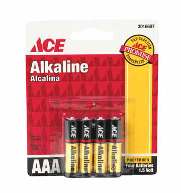 Ace Alkaline Battery - 1.5V, AAA , 4 Batteries