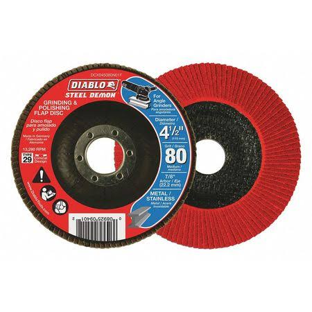 Diablo Steel Demon Grinding and Polishing Flap Disc with Type 29 Conical Design - 4-1/2in, 80 Grit