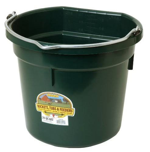 Miller Flat Back Plastic Bucket - Green, 20qt