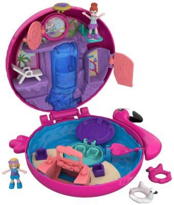 Polly Pocket Pocket World Compact Toy Set - Flamingo Floatie