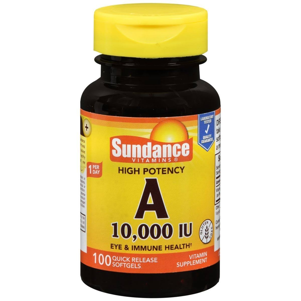 Sundance Vitamins High Potency A 10,000 IU Vitamin Supplement Quick Release Softgels - 100 ct