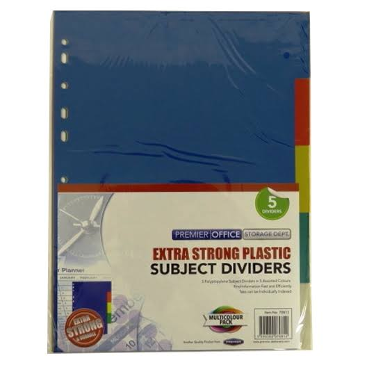 A4 Premier Multi Coloured Extra Strong Plastic Subject Dividers 70812