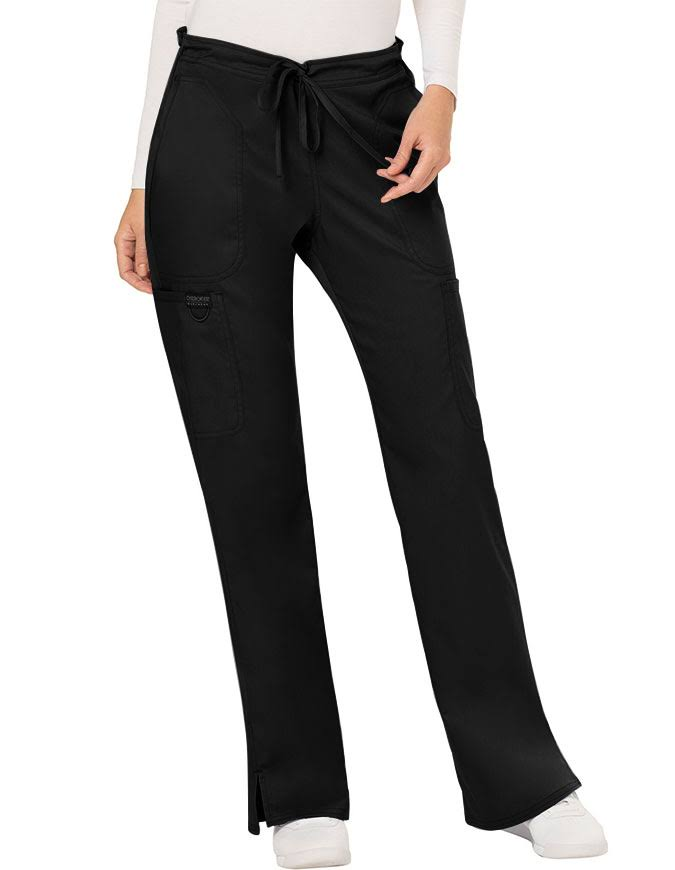 Cherokee Workwear Revolution Womens Mid Rise Moderate Flare Drawstring Pant - Black (XL)
