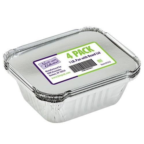 Nicole Home Collection 4 Count Aluminum Pan with Board Lid, 1-Pound