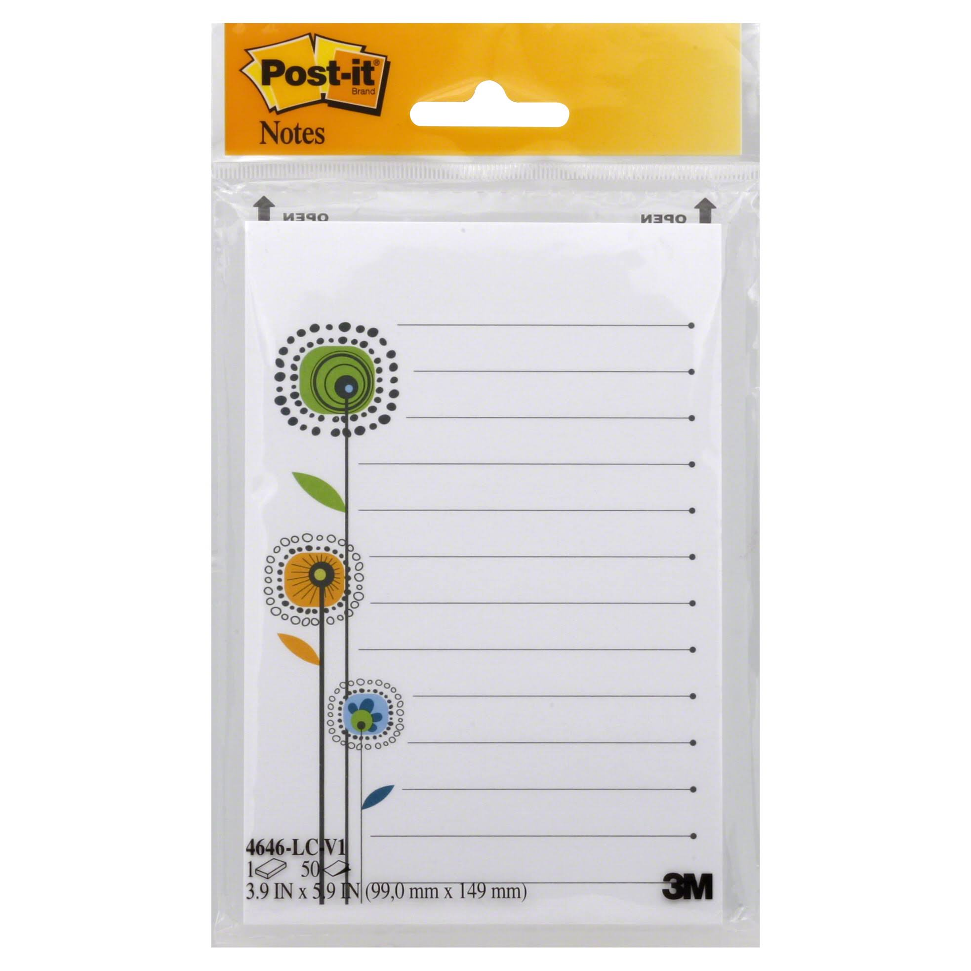 "3M Dv Trend Printed Notes Pad - 4"" x 6"", 50 Sheets"
