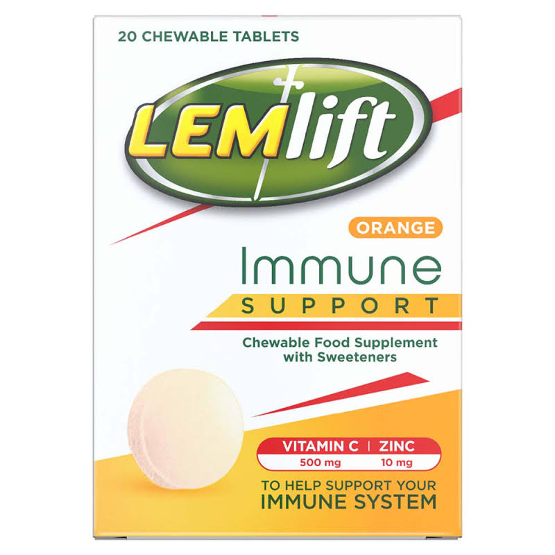 Lemlift Immune Support Orange Chewable Food Supplement - with Vitamin C (500mg) and Zinc (10mg), 20ct