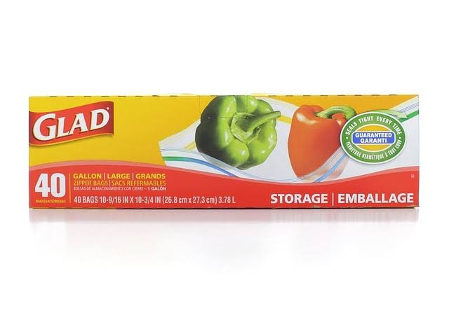 Glad Food Storage Zipper Bags - Gallon, 40 ct