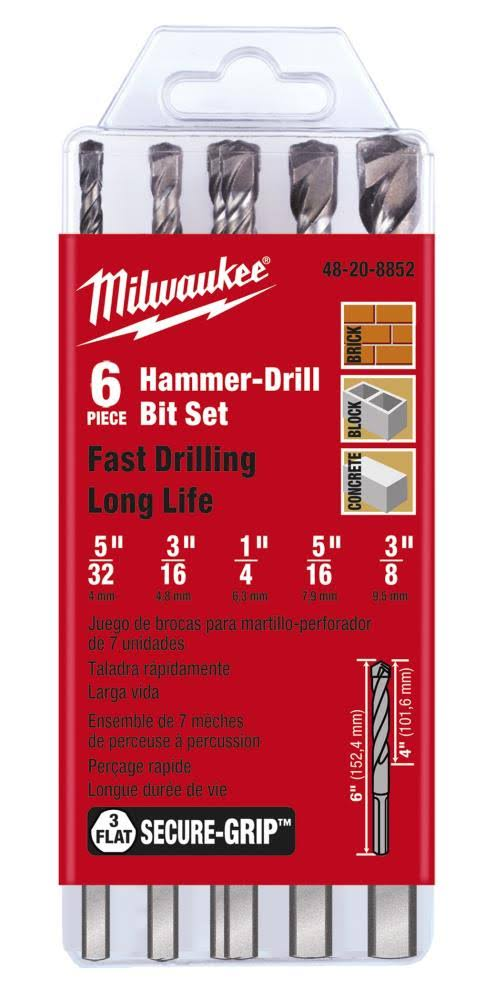 Milwaukee 48-20-8852 7-Piece Hammer Drill Bit Set