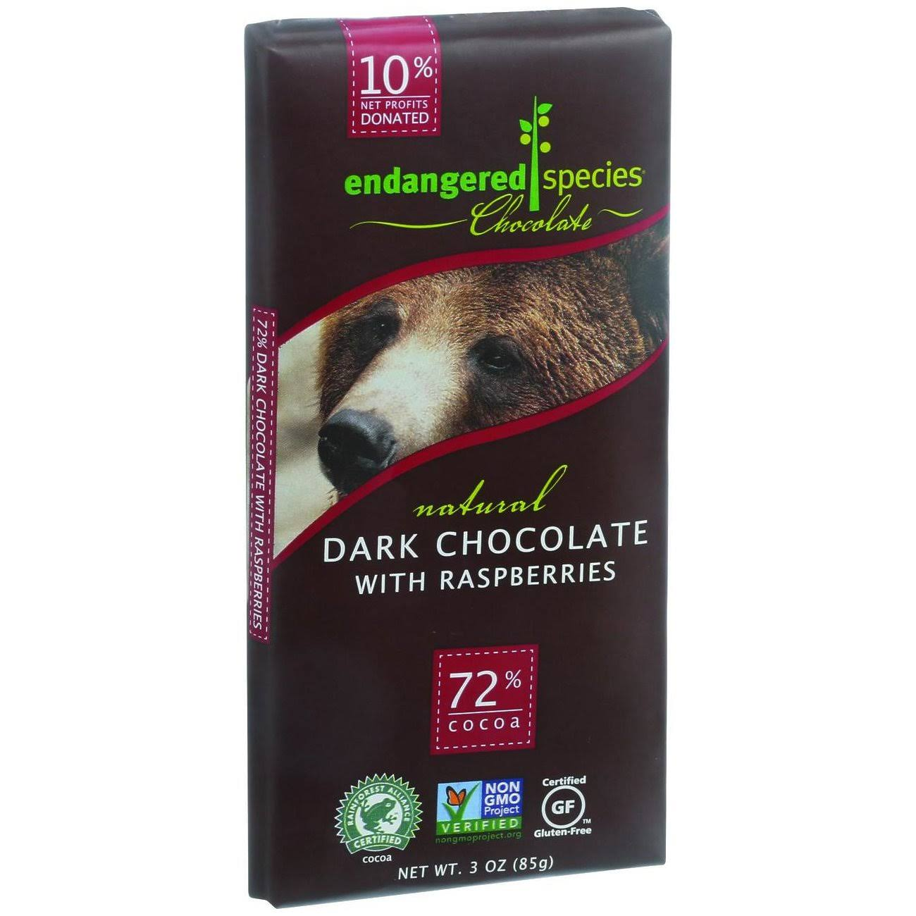 Endangered Species Dark Chocolate With Raspberries - 85g