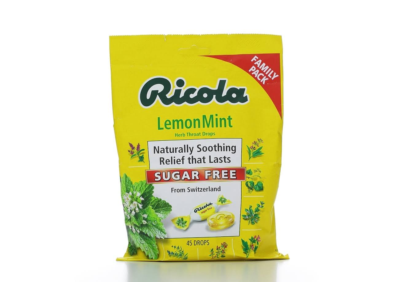 Ricola Throat Drops, Herb, Sugar Free, LemonMint, Family Pack - 45 drops
