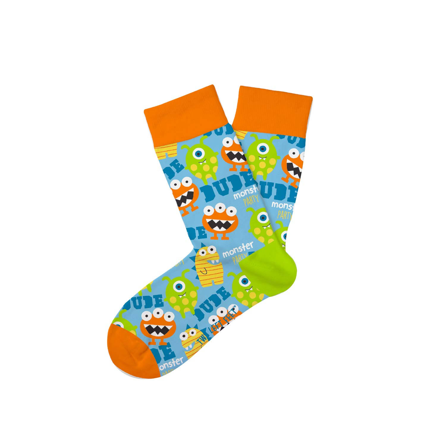 Two Left Feet Kids Novelty Crew Socks - Monster Medium Large