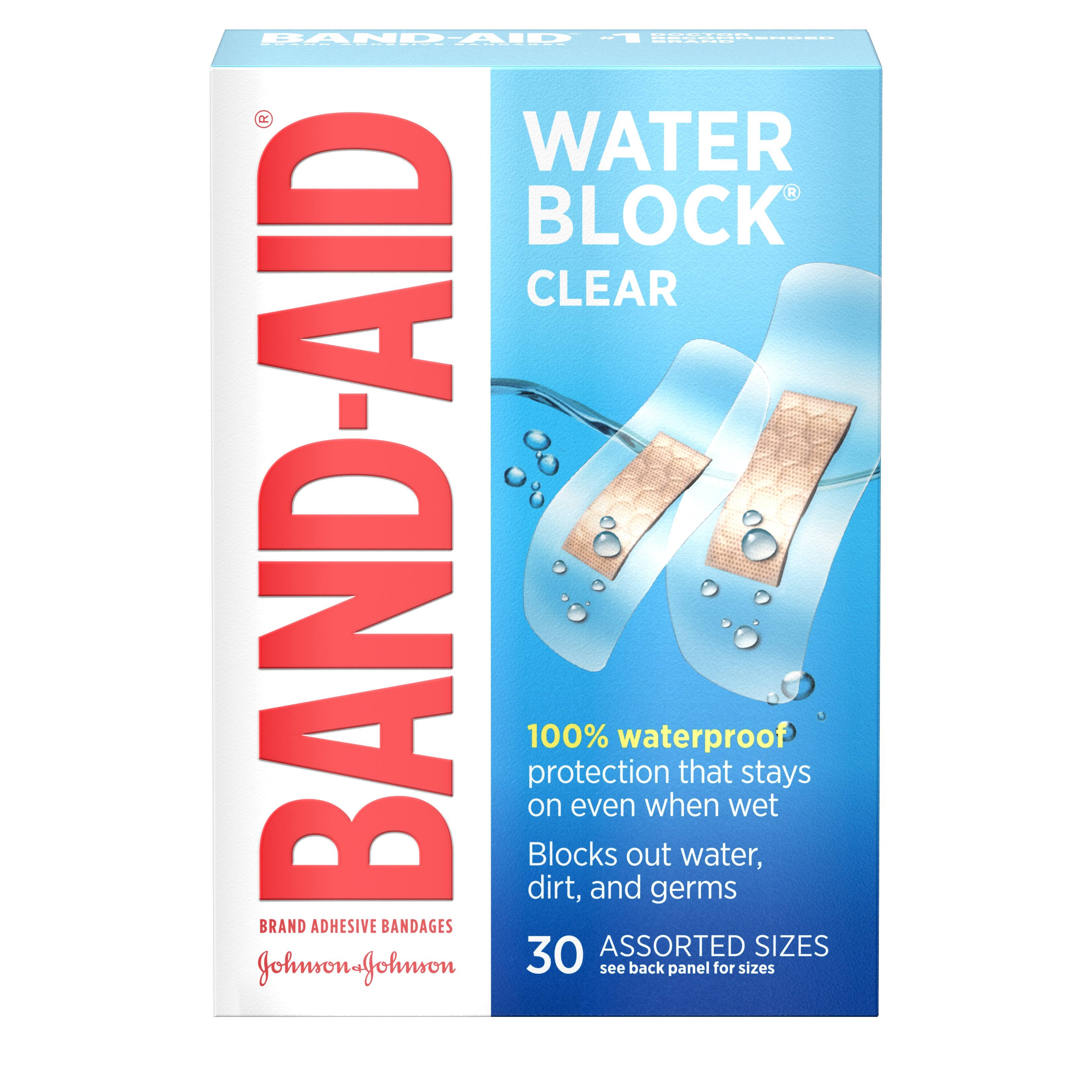 Band Aid Brand Adhesive Bandages Water Block Plus - Clear, 30 Assorted Sizes