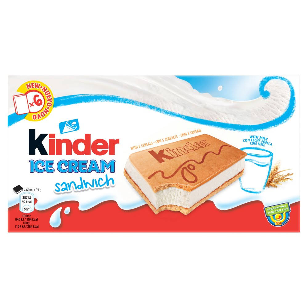 Kinder Sandwich Ice Cream Sandwich - 6 x 60ml