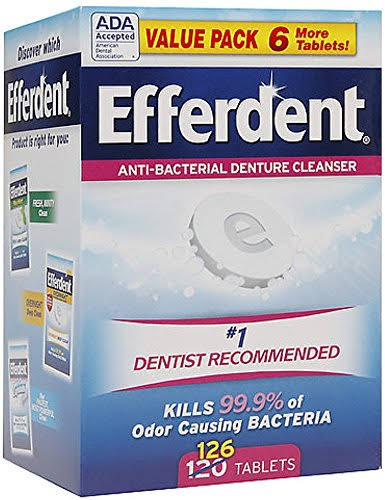 Efferdent Anti-Bacterial Denture Cleanser Tablets - 126 Tablets