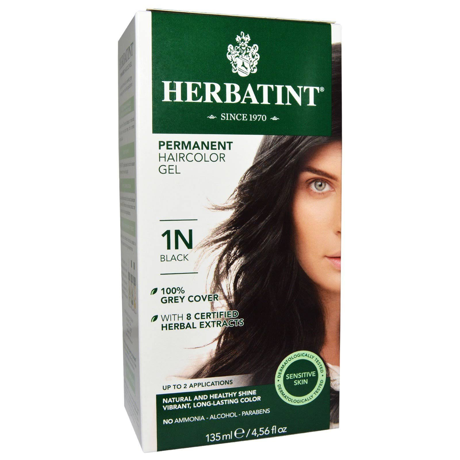 Herbatint Permanent Herbal Hair Color Gel - Black, 1N