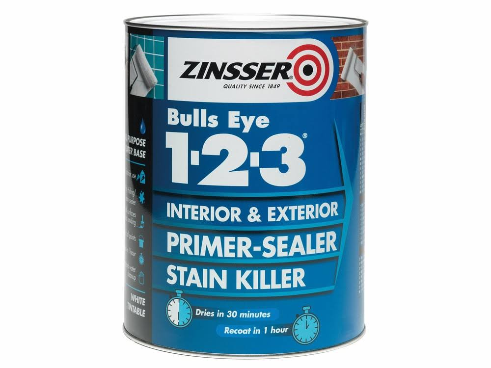 Zinsser Bullseye 1-2-3 Internal & External Flex Primer & Stain Killer - White, 1l
