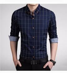 business plaid men cotton shirts fashion autumn new long sleeve