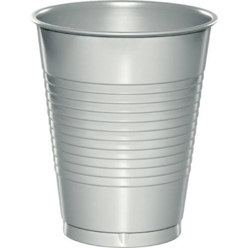 Creative Converting Plastic Cup - Shimmering Silver, 16 Oz