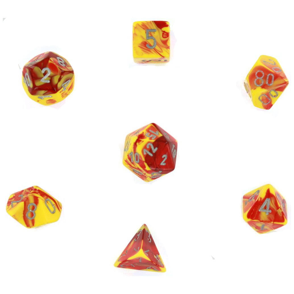 Chessex Polyhedral 7-Die Gemini Dice Set: Red & Yellow with Silver