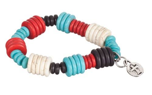 West and Co. Faux Turquoise, Red, White & Black Bead Stretch Bracelet