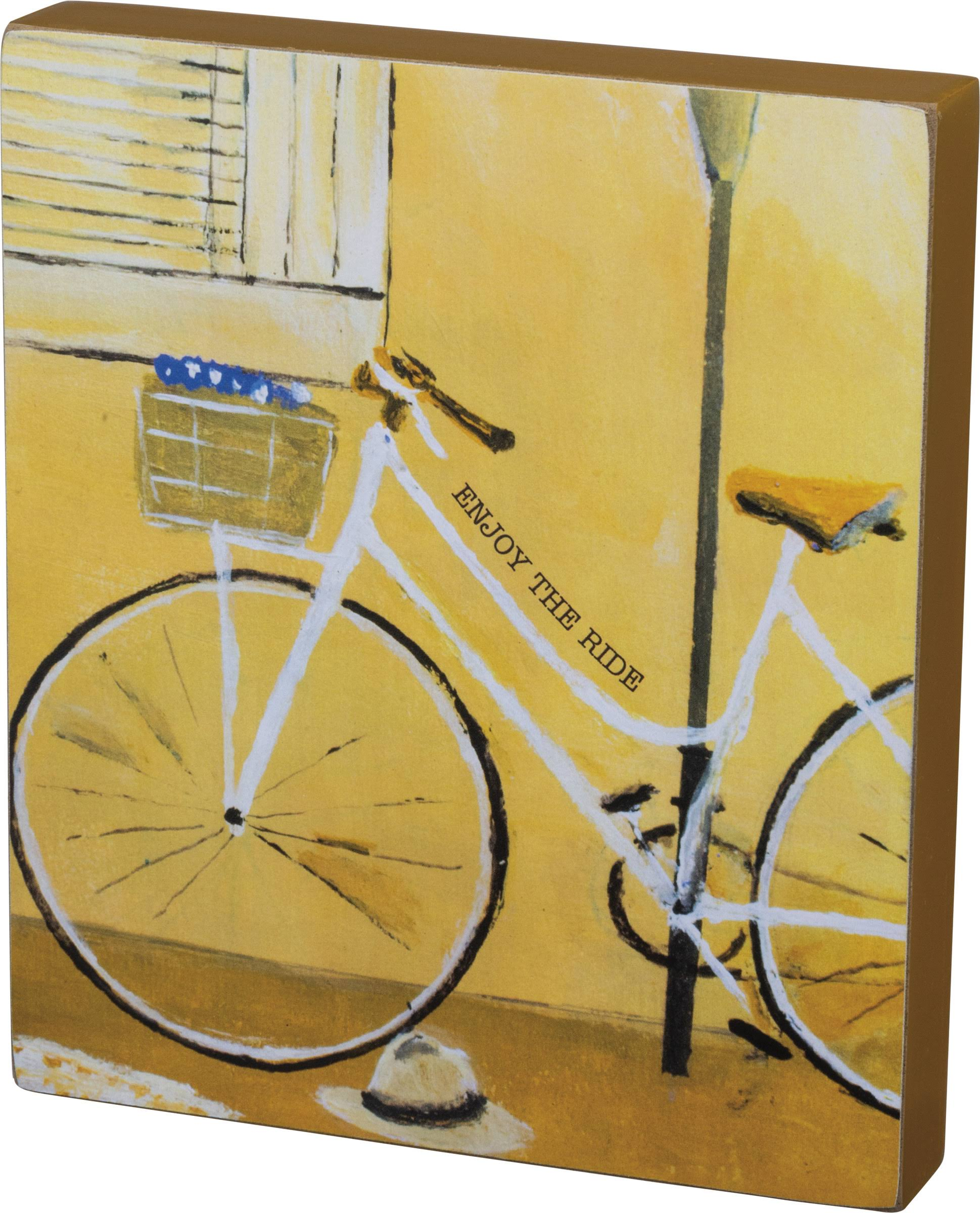 Primitives by Kathy Enjoy The Ride Bicycle Block Wood Sign 7 Inches Yellow
