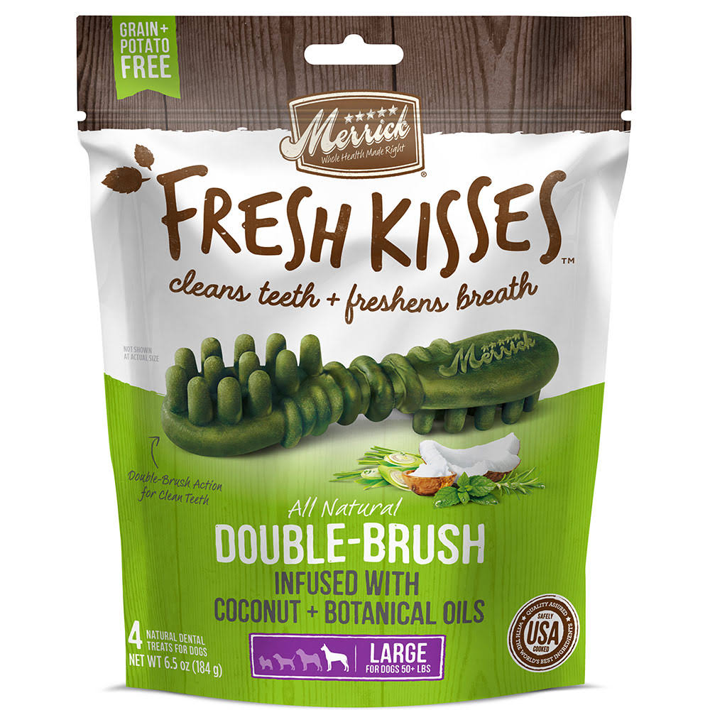 Merrick Fresh Kisses Grain Free Coconut Oil & Botanicals Large Dental Dog Treats - 6.5 oz, 4 Count