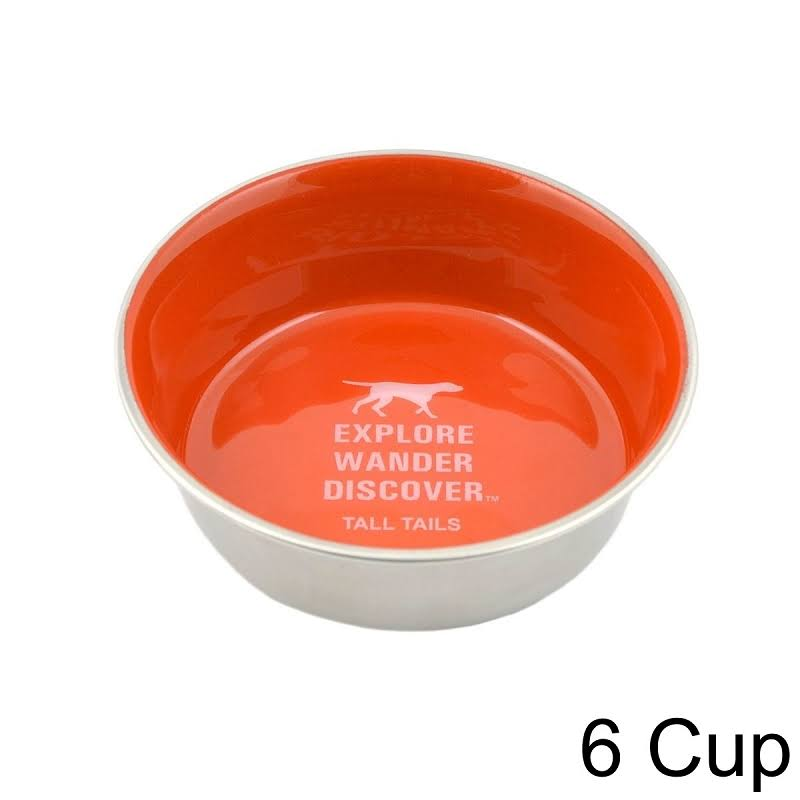 Tall Tails 88216251 Stainless Steel Dog Bowl Orange - 6 Cup