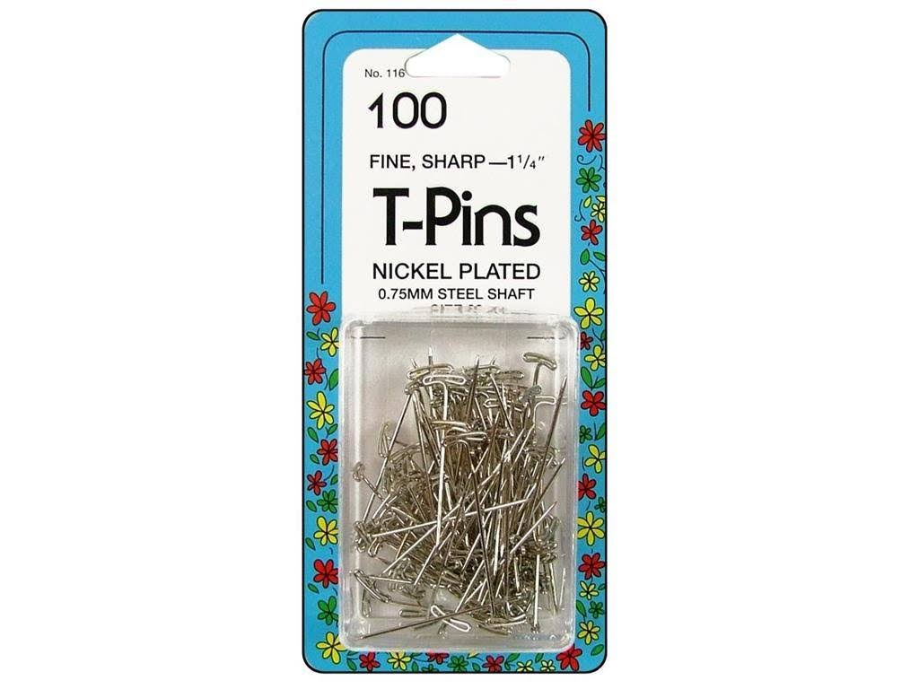Collins T-Pins - x100, Nickel Plated