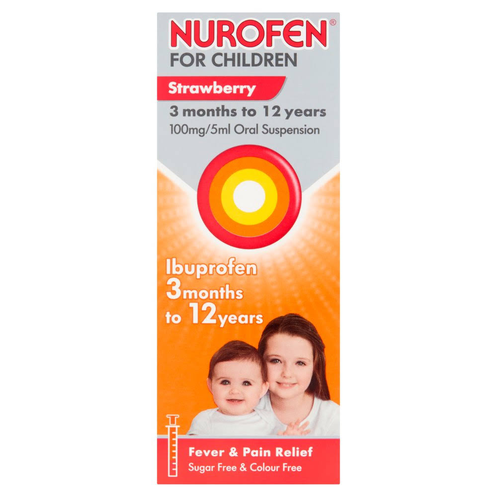 Nurofen for Children Fever and Pain Relief - Strawberry, for 3 Months to 12 Years, 200ml